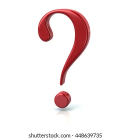 3d illustration of red question sign isolated on white background