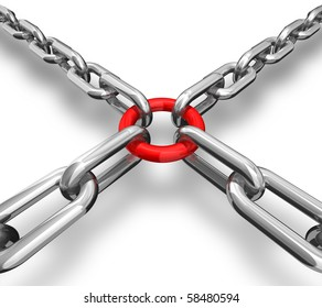 3d illustration of a red ring with chains - conceptual image - strong group