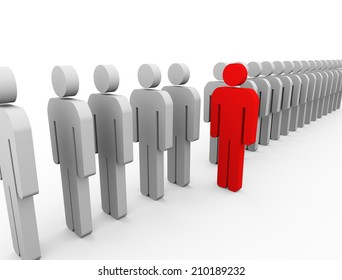 3d Illustration of red unique man standing out from list. unique and stand out of crowd concept