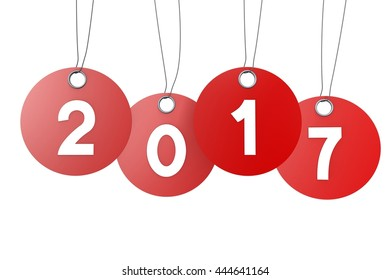 3D illustration/ 3D rendering - 2017 New Year concept