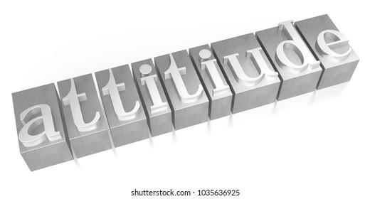 3D illustration/ 3D rendering - Attitude - letterpress