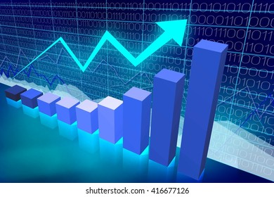 3D illustration/ 3D rendering - bar chart and upwards arrow - great for topics like business growth/ prosperity etc.