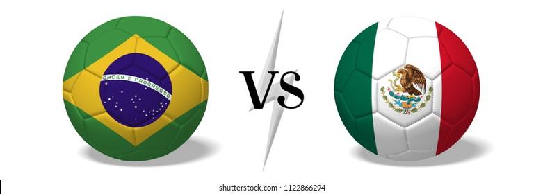3D illustration/ 3D rendering - Brazil vs Mexico