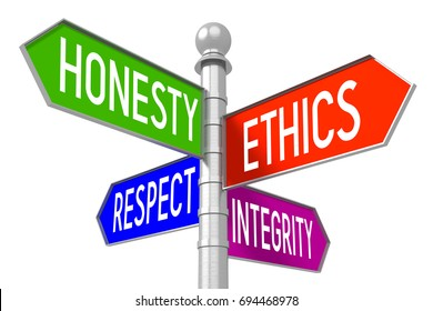 """3D illustration/ 3D rendering - business ethics, colorful signpost - """"honesty"""", """"ethics"""", """"respect"""", """"integrity""""."""