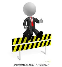 3D illustration/ 3D rendering - businessman jumping over obstacle.