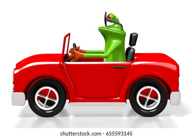 3D illustration/ 3D rendering - cartoon frog and toy car - great for topics like driving, transportation etc.