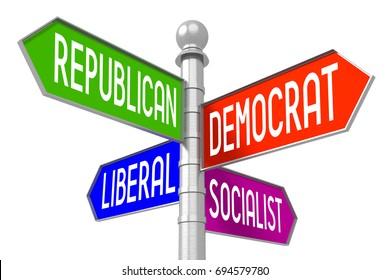 """3D illustration/ 3D rendering - colorful signpost - """"republican"""", """"democrat"""", """"liberal"""", """"socialist""""."""