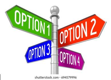 "3D illustration/ 3D rendering - colorful signpost - ""option 1"", ""option 2"", ""option 3"", ""option 4""."