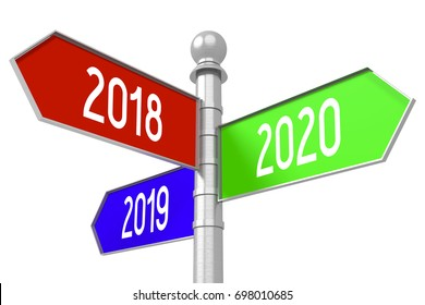"""3D illustration/ 3D rendering - colorful signpost with three arrows - """"2018"""", """"2019"""", """"2020""""."""