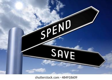 3D illustration/ 3D rendering - crossroads concept - spend or save