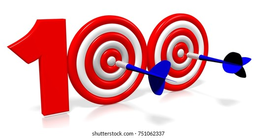 3D illustration/ 3D rendering - darts - hundred (100)