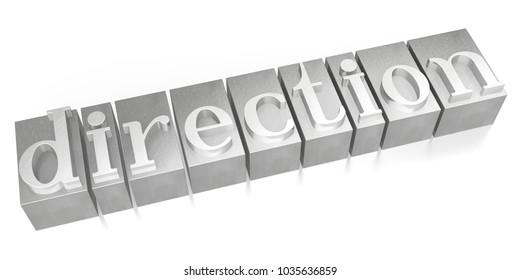3D illustration/ 3D rendering - Direction - letterpress