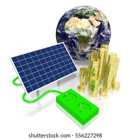 3D illustration/ 3D rendering - Earth, solar panels concept. Elements of this image furnished by NASA.
