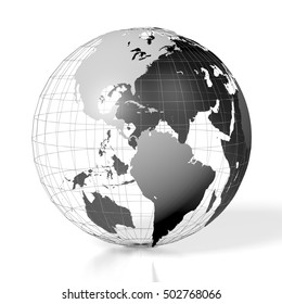 3D illustration/ 3D rendering - Earth, world map, South, Central and North America side.