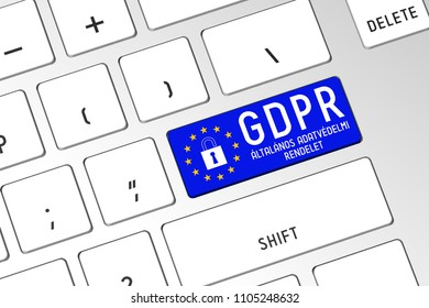 3D illustration/ 3D rendering - GDPR (Hungarian)/ GDPR (English) - General Data Protection Regulation