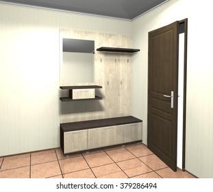 3D illustration rendering interior design furniture in the hallway