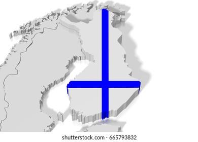 3D illustration/ 3D rendering - map, flag - Finland