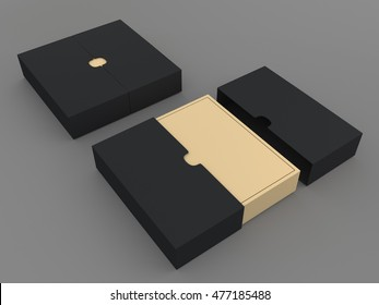 3D illustration, 3D rendering mock up black and brown packaging for t-shirt in isolated background with work paths, clipping paths included.