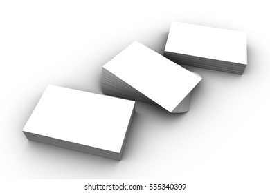 3D illustration, 3D rendering mock up blank name cards in isolated background.