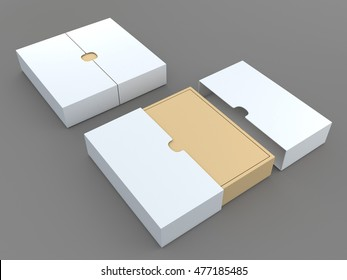 3D illustration, 3D rendering mock up white and brown packaging for t-shirt in isolated background with work paths, clipping paths included.