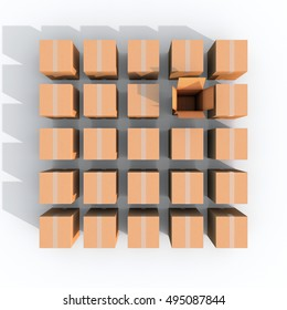 3d illustration rendering of multiple brown closed boxes square grid with an opened one