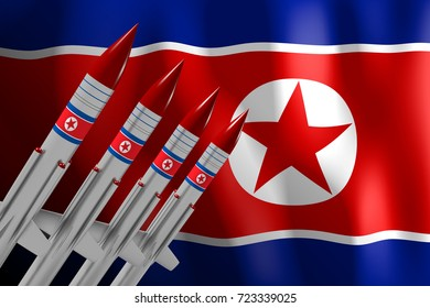 3D illustration/ 3D rendering - North Korea, nuclear missiles