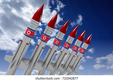 3D illustration/ 3D rendering - North Korea, missiles