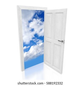 3D illustration/ 3D rendering - open door and sky image - great for topics like vision, future, dream, imagination etc.