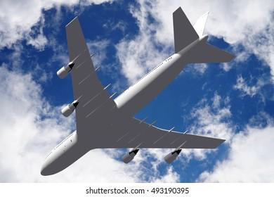 3D illustration/ 3D rendering - passenger jet plane.