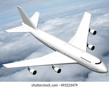 3D illustration/ 3D rendering - passenger jet plane flying in the air.