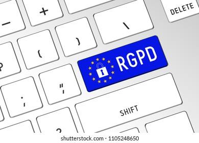 3D illustration/ 3D rendering - RGPD (French)/ GDPR (English) - General Data Protection Regulation