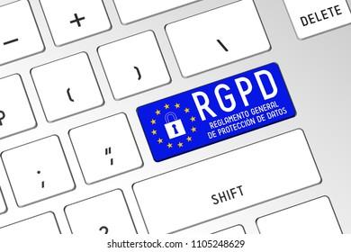 3D illustration/ 3D rendering - RGPD (Spanish)/ GDPR (English) - General Data Protection Regulation