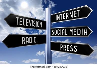 3D illustration/ 3D rendering - signpost with 5 arrows - media concept (Internet, television, social media, radio, press).