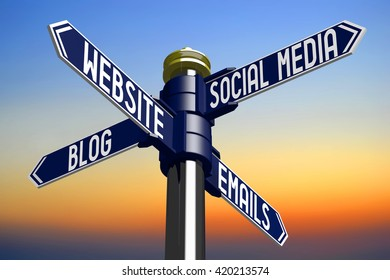 3D illustration/ 3D rendering - signpost with four arrows - on-line marketing