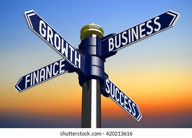 3D illustration/ 3D rendering - signpost with four arrows - business success