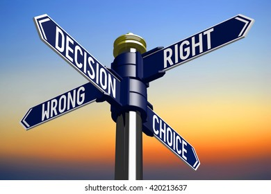 3D illustration/ 3D rendering - signpost with four arrows - choice concept