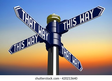 3D illustration/ 3D rendering - signpost with four arrows - this way