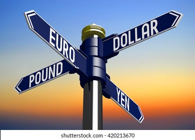 3D illustration/ 3D rendering - signpost with four arrows - currencies
