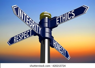 3D illustration/ 3D rendering - signpost with four arrows - business ethics