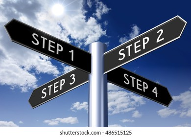 3D illustration/ 3D rendering - signpost with four arrows - steps concept.