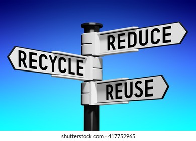 3D illustration/ 3D rendering - signpost with three arrows - recycling concept