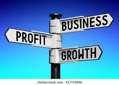 3D illustration/ 3D rendering - signpost with three arrows - business growth