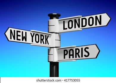 3D illustration/ 3D rendering - signpost with three arrows - capital cities