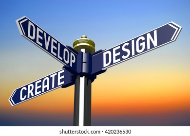 3D illustration/ 3D rendering - signpost with three arrows - design concept