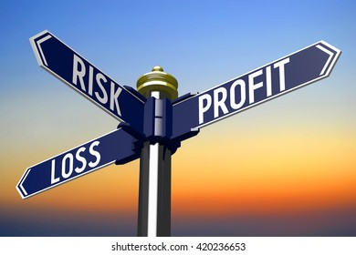 3D illustration/ 3D rendering - signpost with three arrows - investing risk