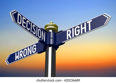 3D illustration/ 3D rendering - signpost with three arrows - decision concept