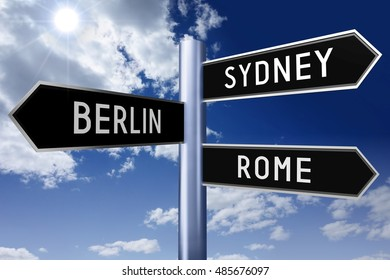 3D illustration/ 3D rendering - signpost with three arrows - capital cities concept (Sydney, Berlin, Rome).
