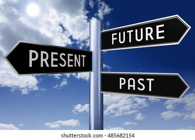 3D illustration/ 3D rendering - signpost with three arrows - time concept (future, present, past).