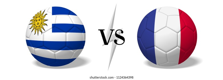 3D illustration/ 3D rendering - Soccer ball concept - Uruguay vs France