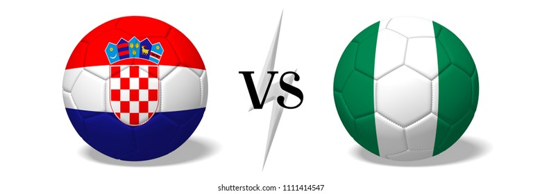 3D illustration/ 3D rendering - Soccer championship - Croatia vs Nigeria